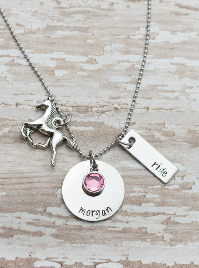 Personalized hand stamped horseback riding necklace