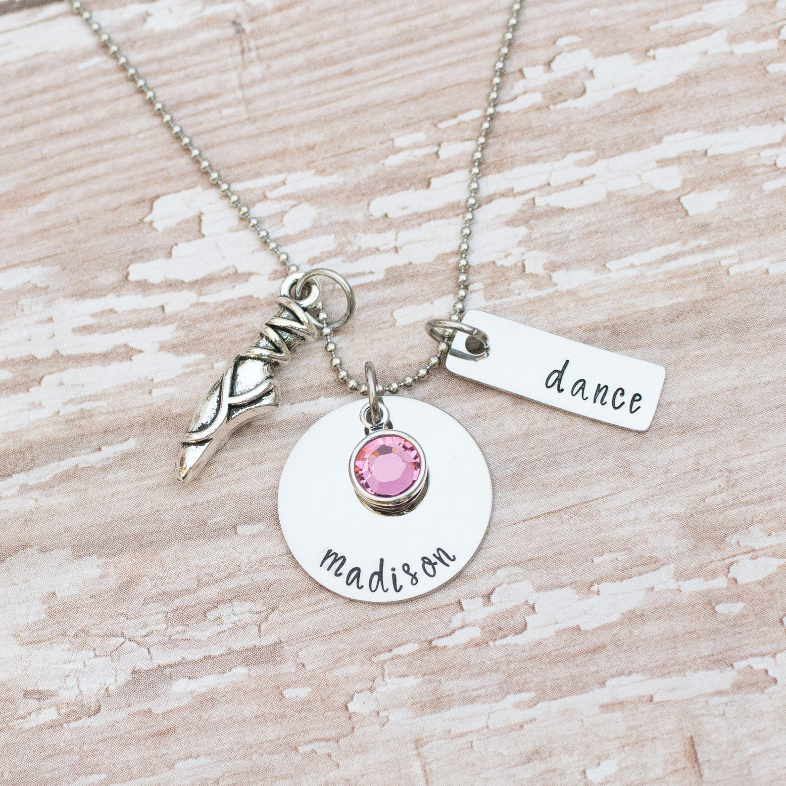 personalized ballet necklace - gift for dancer - ballet shoe necklace - dancer necklace - birthstone - ballet gift - hand stampe
