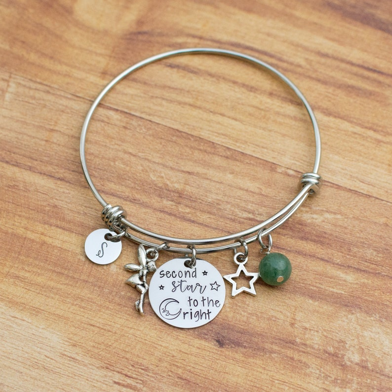 d7bcdc748 Hand stamped Peter Pan bracelet initial bangle Tinkerbell | Etsy
