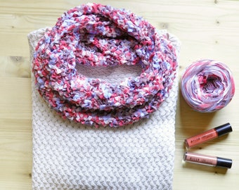 Infinity knitted scarf for men and women, Pink summer cowl, Spring shawl for women, Twisted scarf, Loop scarf, Gift for her, Chunky cowl