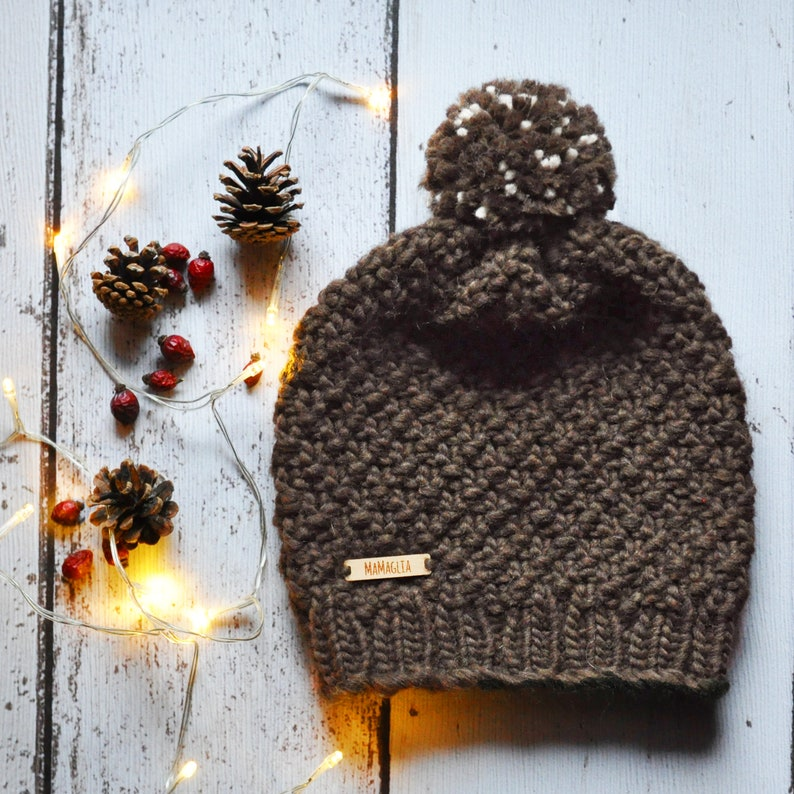 slouchy beanie pom pom hat christmas gift for her Chuncky knit beanie hat toque hat wit pmpom winter hat for woman and baby girl ski,