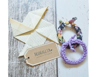 Fabric bracelets, two bracelets for men and women, gift for mum, vegan earrings,