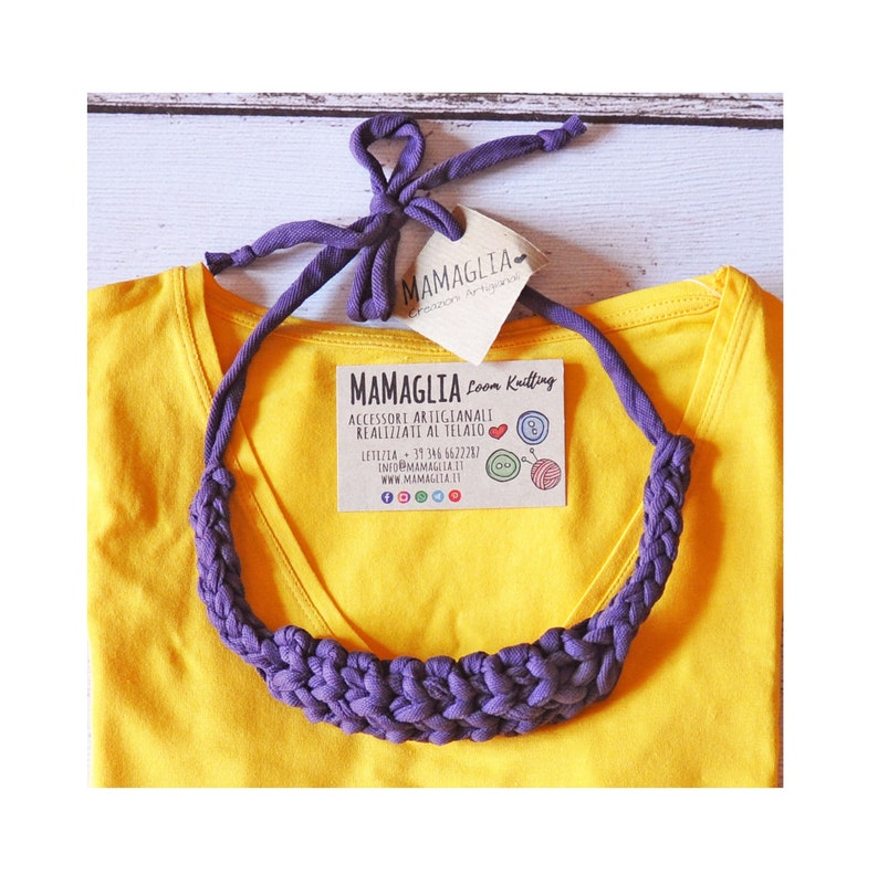 Layered necklace Purple Necklace Ribbon collier for women image 0
