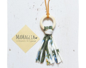 Charm necklace for woman, wood necklace, recycled fabric necklace, handcrafted collier, vegan necklace, ecofriendly jewels, gift for mum