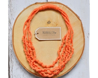Knotted necklace for women, fabric necklaces, handmade textile jewelry, fabric necklace for woman,