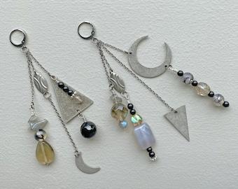 Hera Asymmetrical Earrings | OXO silver + gunmetal | Boho Jewelry, Dangle n Drop, Statement Jewelry, Geometric Crescent Moon Earrings