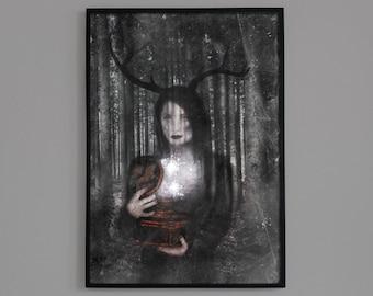 Soulcatcher, Artemis, Fine Art Print, Mythic Art, Dark Art, Mystical Art, Visionary Art, Wiccan Art, Witchy Art, Pagan Art, Archival Print