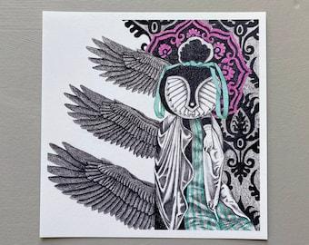 Strange Angel Giclée, Fine Art Print, Archival Print | Surreal Drawing | Pagan Art, Mystical Art, Visionary Art, Altar Art, Wiccan Art