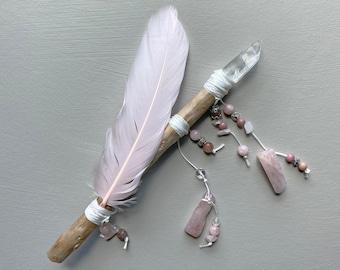 Freyja Talismanic Wand | Pink Wand | Raw Quartz Point, Goose Feather, Driftwood | Rhodochrosite, Strawberry Quartz, Pagan Wand, Witch Wand