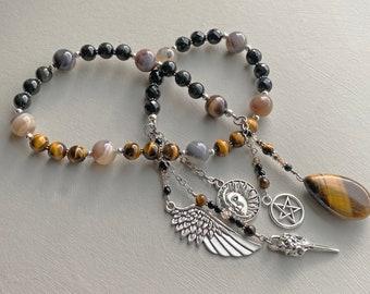 Hephaestus Witch's Ladder | Pagan Rosary | Prayer Beads | Tiger Eye Pendulum | Motivation, Creativity, Willpower, Courage | Wiccan Tool