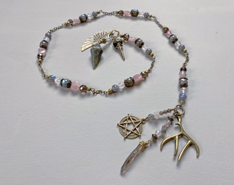 Arianrhod Witch's Ladder | Spiritual Tool | Pagan Rosary Prayer Beads | Labradorite Rose Smoky Quartz Gemstone Prayer Beads + Wiccan Tool