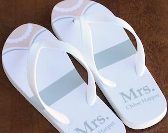 8cb977ac18f82 Mrs. Mrs. Flip Flops - Personalized Bride Flip Flops - Ivory Rubber Soles