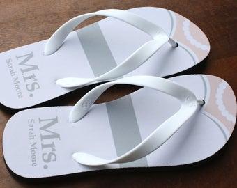a73cffa67fcfc Mrs. Mrs. Flip Flops - Personalized Bride Flip Flops - Black Rubber Soles