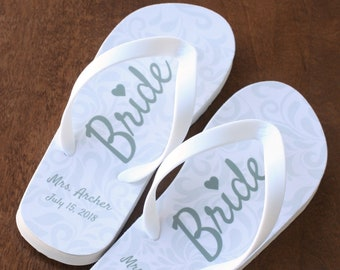4c6627c33843 Bride Flip Flops - Personalized Name and Date - Ivory Rubber Soles