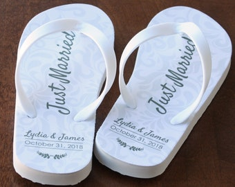 78d650496 Just Married Flip Flops - Personalized Date and Name - Ivory Rubber Soles