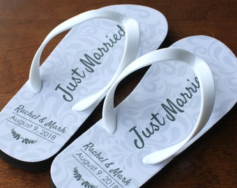 b9d50c50d Just Married Flip Flops - Personalized Date and Name - Black Rubber Soles