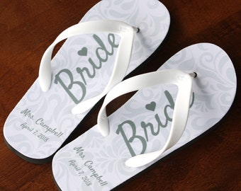 2ab389d86fc39 Bride Flip Flops - Personalized Name and Date - Black Rubber Soles