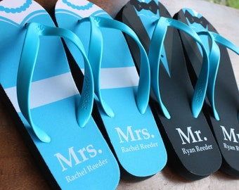375768fa9b5f0c Custom Printed Bridal Party Flip Flops - Wholesale 10 pair listing