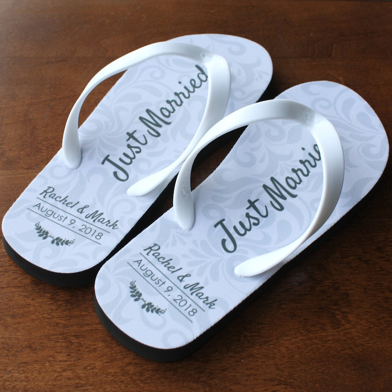 d3e43456db9cc8 Just Married Flip Flops Personalized Date and Name Black