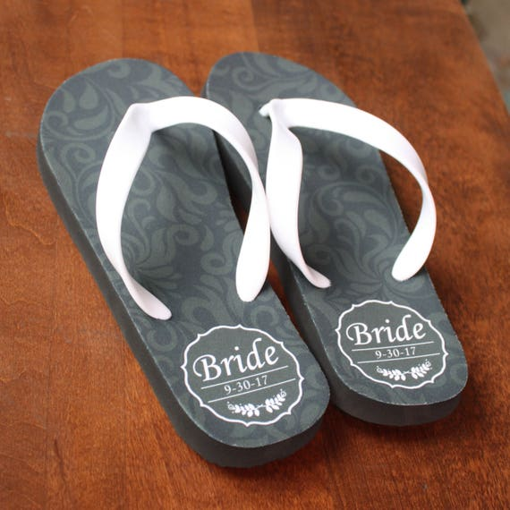 cddf4305ea46e Bride flip flops Personalized Flip Flops for Bride and