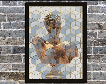 Geometric Blue & Gold Roman Bust Printable Wall Art