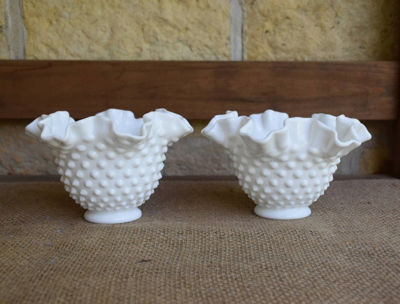Lovely Vintage Fenton Milk Glass Hobnail Low Footed Comport Special Buy North American
