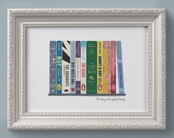 Personalised Bookshelf Of Memories Print Story Us Birthday Present Gift A4 Family Home Anniversary Book Titles