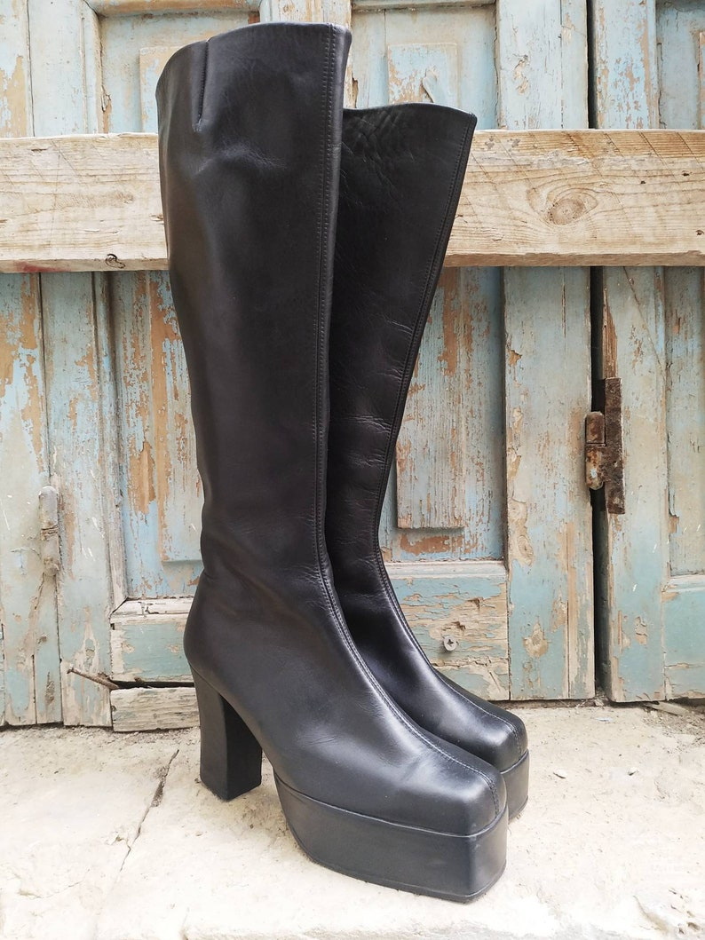 1980s Clothing, Fashion | 80s Style Clothes 90s black leather chunky platform heel boots vintage square toe high knee unworn handmade boots size US 6 US 5 35 36 $121.00 AT vintagedancer.com