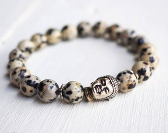 BUDDHA - Mala bracelet in Dalmatian Jasper and Buddha bead.