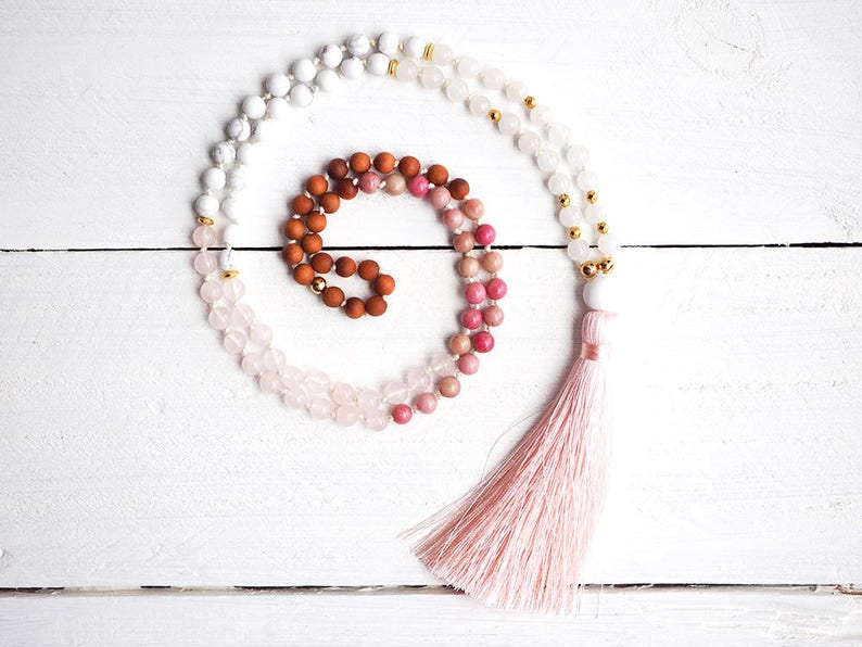 BABY PINK - Mala Necklace of 108 beads in Sandalwood, Rhodonite, Rose  Quartz, Howlite and Jade  Handknotted, pink silk tassel