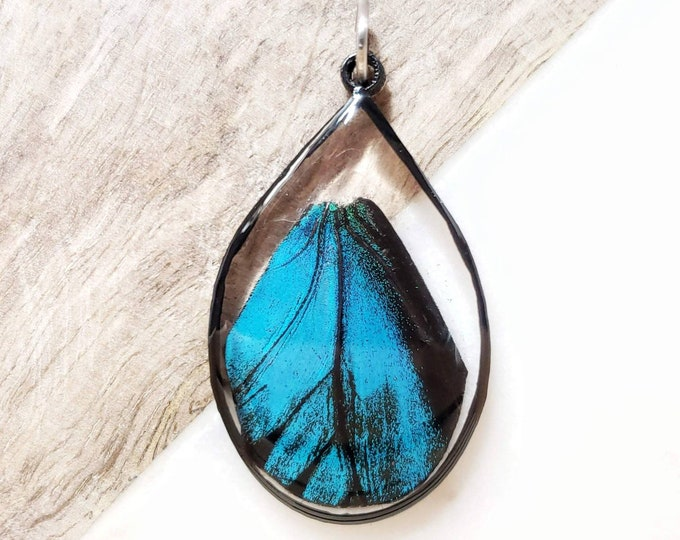 Featured listing image: Butterfly Wing Black Framed Teardrop Necklace