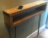 Narrow Rustic Console Table With Hairpin Legs Vintage style Entryway Table Mid Century hallway table Bespoke Nightstand Side Table