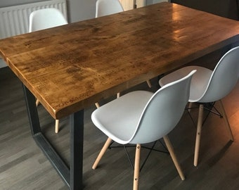 80a55af5a5 John Lewis Calia Style Industrial Dining Table, Kitchen table with Reverse  Trapezium Steel Legs, Rustic Reclaimed Style (Handmade UK )