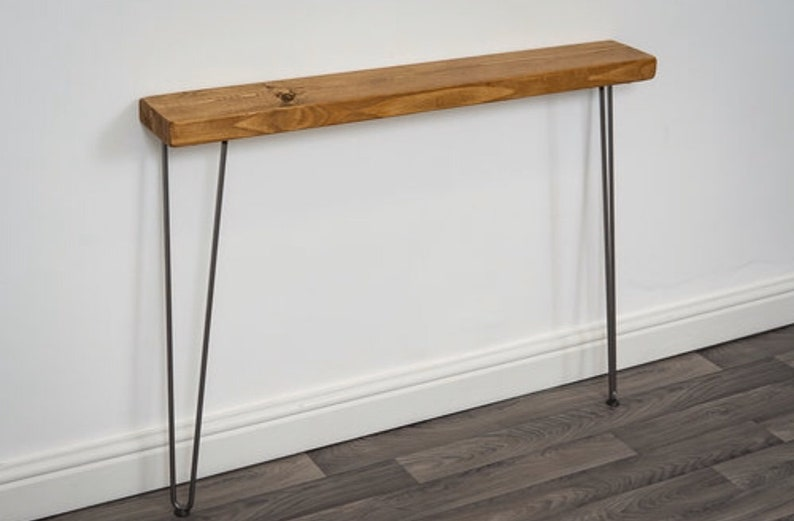 best sneakers e2fa2 d8991 Narrow Rustic Console Table With Hairpin Legs - Rustic Entryway Table - Mid  Century Side Table - Slimline Hallway Table - Wood Console Table