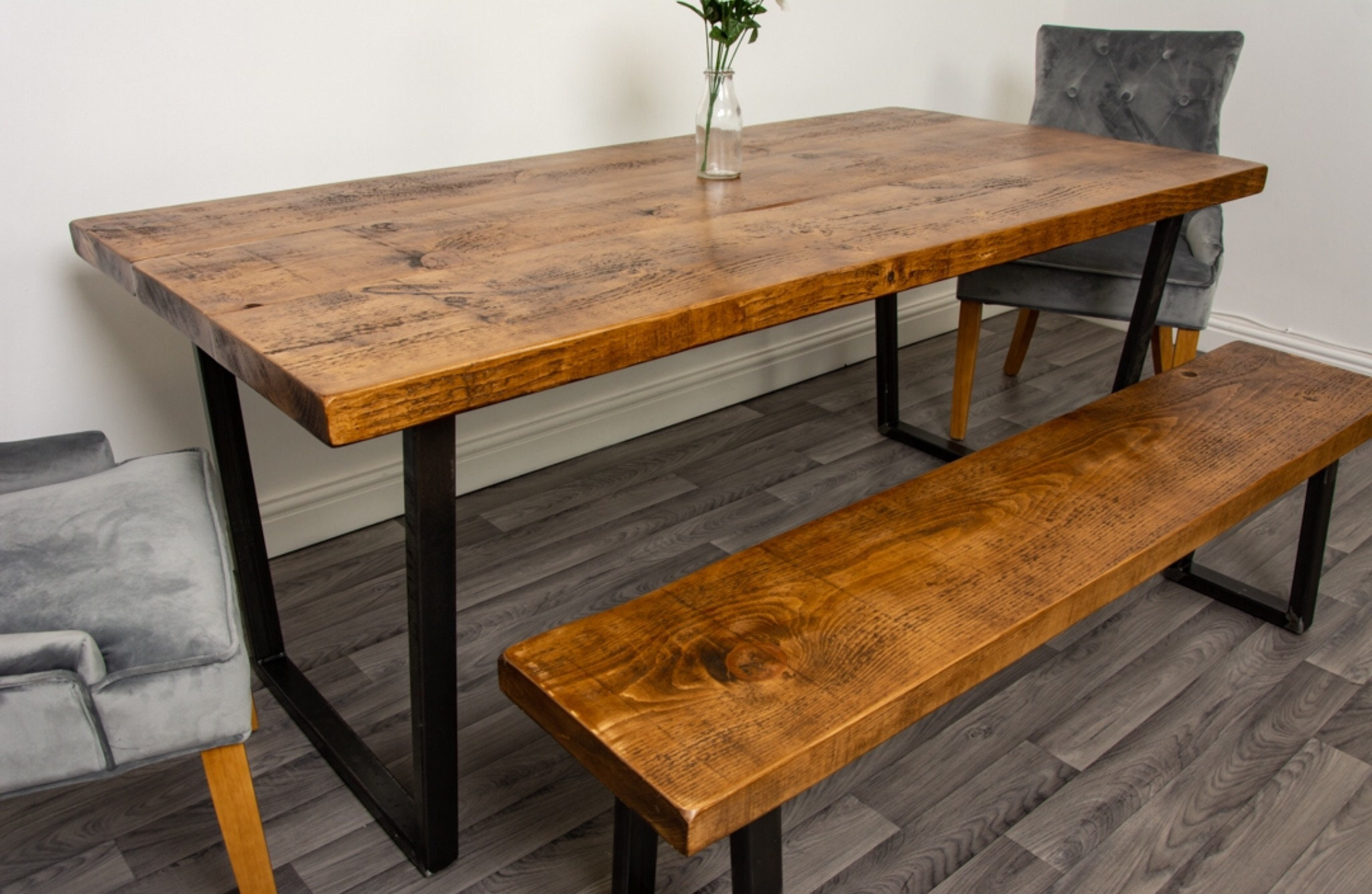 Package Deal - Rustic Industrial Dining Table With Reverse trapezium Steel  Legs In A Rustic Reclaimed Style - Rustic Kitchen Table