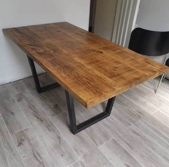 John Lewis Calia Style Rustic Dining Tableindustrial Kitchen Etsy