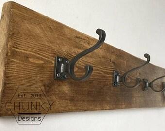 Coat Rack With Cast Iron Coat Hooks