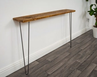 Narrow console table with hairpin legs, FREE DELIVERY wooden rustic hallway table , handmade in the uk