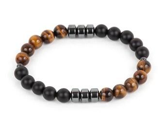 Matte Onyx & Tigers Eye Men's Bracelet