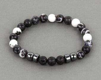 Zebra Jasper and Lava Stone Men's Bracelet