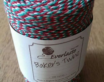 Bakers twine - red - white - green