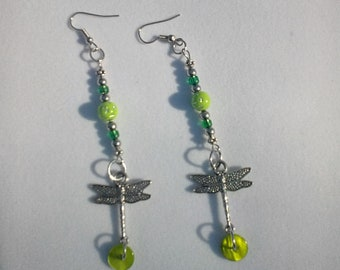 Silver Dragonfly Earrings with Lime Green Beading - Item 2018 - 122