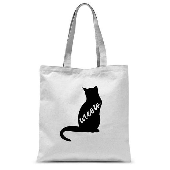 Tote Bag Meow Cat Lover Gift Black