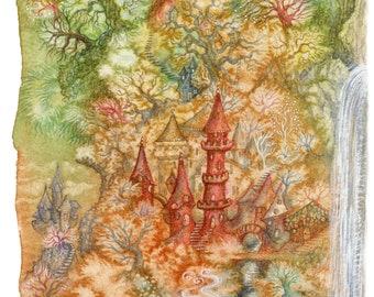 Landscape with Unicorns, Limited Edition Giclée Print, A4