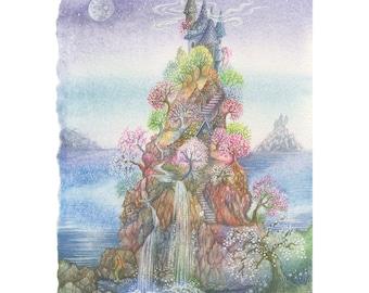 Where the Merfolk Meet,  Limited Edition, signed,  Giclée Print, A4
