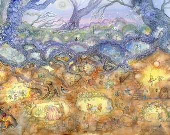 Fairyland, magical fairy-tale art, Limited Edition Giclée Print, signed, A3