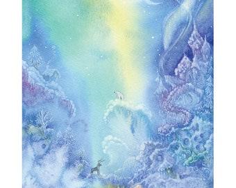 Winter fairy-tale, snow elf ice-skating, A4 Fine Art Print