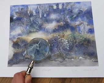 Midnight, magical fairy-tale landscape, Limited Edition Giclée Print, A4
