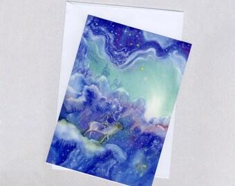 The Starlight Realm, winter fairy-tale card, A5