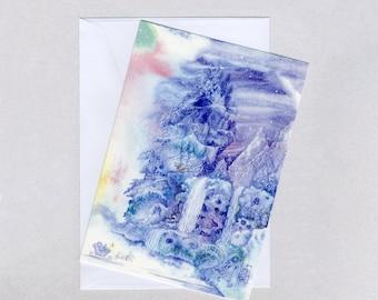 A Winter Fairyland Christmas card, A5, watercolours